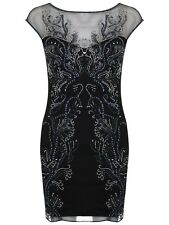 BNWT MISS SELFRIDGE Black Blue Leaf Embellished Sequin Bodycon Party Dress 14 42