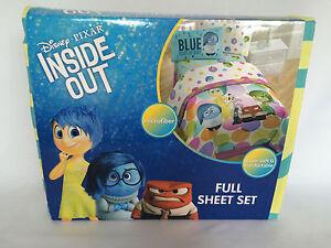 New Kids Disney Pixar Inside Out Full Sheet Set Microfiber Multi Color 4 Piece