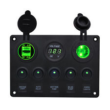 Bedienpanel Schalter Grüne LED Voltmeter USB Hafen Wasserdicht 5 Gang DE