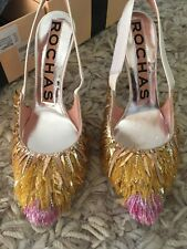 **ROCHAS** Pink Gold Fringed Heels Shoes Pumps Bridal Wedding **£1895.00**