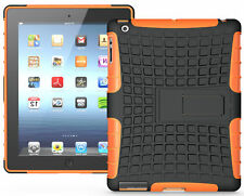NEON ORANGE RUGGED TPU SKIN HARD CASE COVER STAND FOR iPAD 2nd 3rd 4th GEN 2/3/4