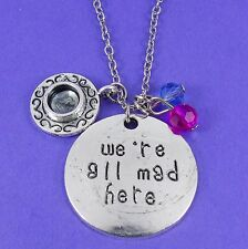 'WE'RE ALL MAD HERE' NECKLACE alice in wonderland hatter tea party disney