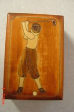 Vintage Wooden Golfer Trinket Box Handmade in Poland with Hinged Lid
