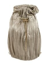 CHANEL Pleated Crumpled Calfskin & Gold-Tone Metal Drawstring Shoulder