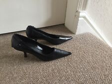 Dolcis Black Kitten Low Heel Leather Shoes Office Work Smart Size 5 EU 38