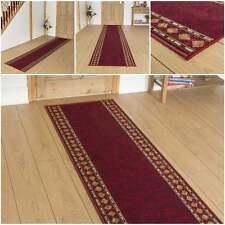 Cheops Red - Hallway Carpet Runner Rug Mat Long Hall Anti Non Slip Gel Back
