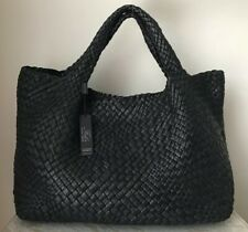 NWT Falor Firenze Italian Italy black hand woven leather tote bag purse satchel