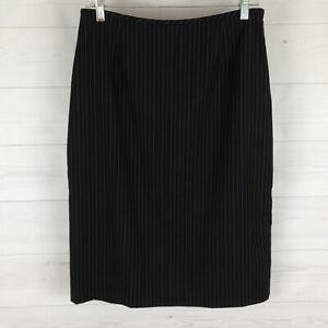 MEGASCHONI womens size 8 black striped side zip lined straight dress skirt LNC