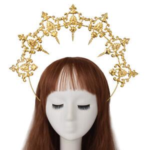 Women's Halo Crown Cross Golden Headband Party Cosplay Headband Costume Headwear