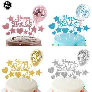 15PC Cake Strip Topper Backzubehör Stern Liebe Form Geburtstagsfeier Dekoration
