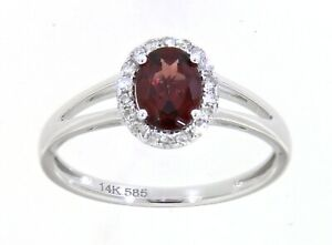 0.83CT Garnet Gemstone 14K White Gold Real Halo Diamond Oval Ring Fine Jewelry