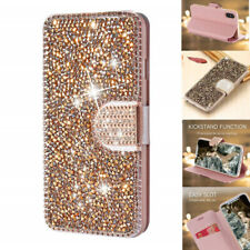 For Apple iPhone 7 8 Plus X XMAX Diamond Bling Flip Wallet Case Magnetic Crystal