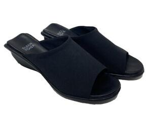 Vintage Eileen Fisher Slide Sandals Women's Black Block Wedge Heel Size 5