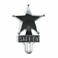 Retro Vintage Safety Star Chromed License Plate Topper Fits Ford Chevy Dodge V8