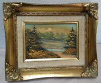 Original Art Painting Forest In Small Victorian Style Gold Gilt Frame 5 x 7
