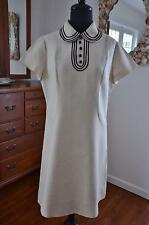 NWOT & FABULOUS! Vtg 60s MOD Oatmeal Linen Space Age Stewardess Dress! M
