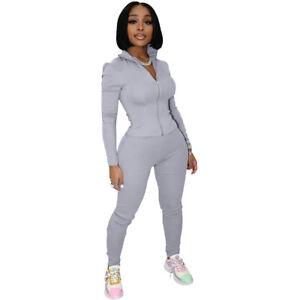 Stylish New Women Zipper Patchwork Solid Long Sleeves Sporty Jumpsuit 2pcs