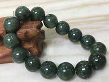 15mmcertified 100% Natural   Oil Green A Jade Jadeite Beads Bangle Bracelet1631