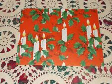 """VTG CHRISTMAS WRAPPING PAPER GIFT WRAP NOS CANDLES HOLLY 1940 WW2 ERA 20"""" X 13"""""""