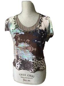 MARC AUREL Top With Embroidered Mesh Size Small