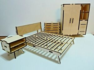 1:12 Scale Doll House Furniture 4 Piece Bedroom  Set-Mid Century Modern