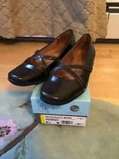 Life Stride Bronze  Faux Patent Leather with Straps Flats Used Size 8.5