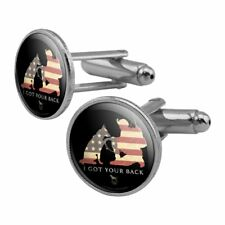 Got Your Back Soldier Shepherd Flag Round Cufflink Set Silver Color