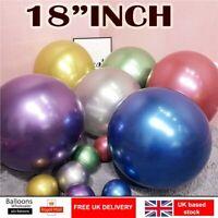 "20 PEARL LATEX METALLIC CHROME BALLOONS 18"" Helium Baloons Birthday Party UK"
