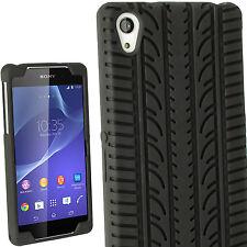 Negro Funda Silicona Tyre para Sony Xperia Z2 D6503 Neumático Case Carcasa Cover