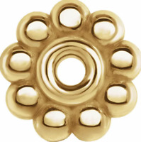 7mm 14K SOLID Yellow Gold Milgrain Floral Bali Bead Spacer Roundel USA MADE