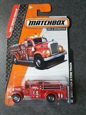 Matchbox 2014 #100 1963 Mack B Model Fire Truck RED - Long Card