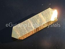 ONE POWERFUL STARBRARY PURE 24KT GOLD AURA LEMURIAN SEED QUARTZ CRYSTAL POINT!