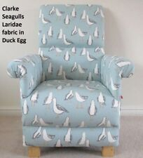Clarke Seagulls Fabric Adult Chair Duck Egg Armchair Birds Seaside Blue White