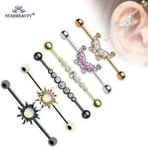 Unisex Industrial Barbell Surgical Steel Ear Piercing Body Jewellery Earrings