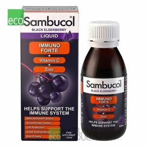 Sambucol Immuno Forte Black Elderberry Liquid Vitamin C & Zinc 120ml