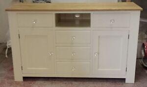 Painted TV Base unit - 2 drawers over 2 doors and  3 middle drawers