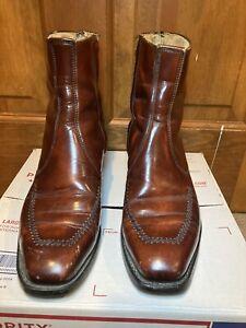 Wrangler Men's Boots Brown Leather Cowboy Western Ankle Zip Size 10 D vintage