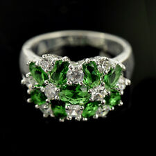 Pretty Women Emerald & White Sapphire 925 Silver Jewelry Wedding Ring Size 9