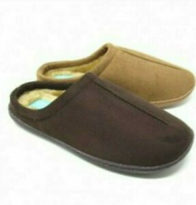 Mens Response Gents Comfort Fur Lined Light Weight Wide Mules Slippers Shoes