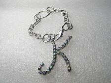 Silver Tone Rhinestone Initial K on Chain, zipper pull or purse/keychain accent