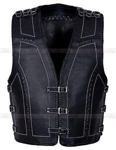 Mens Real Cowhide Leather Motorcycle Waistcoat Biker Style Black Motorbike Vest