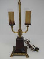 ANTIQUE VTG ORNATE BRONZE & BAKELITE 2 STEMS ELECTRIC TABLE LAMP