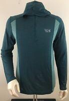 MOUNTAIN HARDWEAR Men's 1/4 Zip Hooded Wool Blend Base Layer Shirt Size L