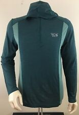 MOUNTAIN HARDWEAR Men's 1/4 Zip Hooded Wool Blend Base Layer Shirt Size L