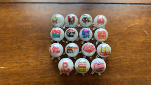 """Taco Bell, Pizza Hut, Hooters Mixed Fast Food  glass marbles coll. 5/8"""" w/stands"""