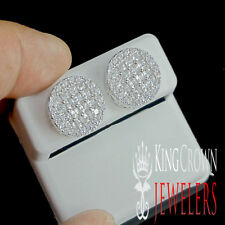 MEN'S WOMEN'S WHITE GOLD ON STERLING SILVER ROUND PAVE STUD EARRINGS SCREW BACKS