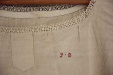 Linen night dress nightdress French linen lace collar PB monogram c1900