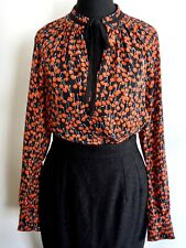 Whistles Red & Black Cherry Print Blouse with Neck Tie |  UK 6 EU 34 US 2
