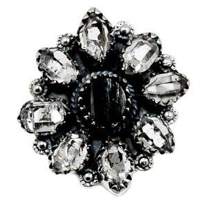 Black Tourmaline Rough & Herkimer Diamond 925 Silver Ring s.7 BR98826