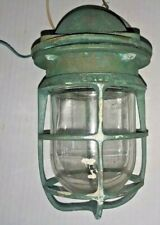 VINTAGE R & S Co RUSSELL STOLL BRASS NAUTICAL Ship CAGE LAMP LIGHT Fixture Globe